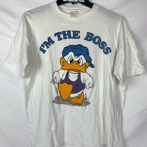 80s M/L VTG I'm the Boss California Duck Cartoon
